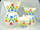 6 Pc. Fire King TULIP Nested Mixing Bowls with Covered Grease Bowl