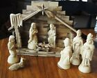 OLIVE WOOD NATIVITY SET HAND CARVED SOUVENIR BETHLEHEM HOLY LAND PARQUET CRECHE