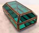 Vintage Green Stained Leaded Glass Terrarium Planter Fern Succulent Fairy Garden