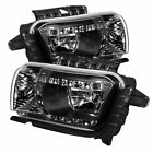 FOR 2010 2013 CHEVROLET CAMARO BLACK CLEAR DRL LED CRYSTAL HEADLIGHTS