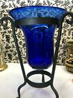 Heavy Ice Cobalt Blue Glass 16 tall Vase wide top with metal stand