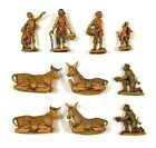 LOT OF 10 VINTAGE FONTANINI DEPOSE ITALY NATIVITY FIGURES DONKEY COW +++