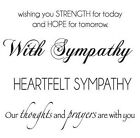 Small SYMPATHY Set Clear Cling Unmounted Rubber Stamp Set Kaisercraft CS924 NEW