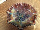 Imperial Open Rose Amethyst Carnival Glass Bowl Ruffled footed Iridescent vtg