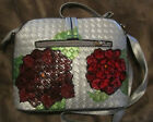 Faux Leather Purse Convertible Silver Shoulder Bag Hand Painted Peonies OOAK