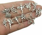11 Fairy Charms Antique Silver Tone Fairy Tale Angel Pendants Assorted Lot