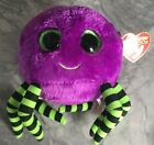 Ty Beanie Boos Crawly The Spider With Tags Purple Big Green Eyes Halloween Scary