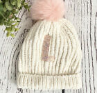 NEW...JUSTICE Girls Chenille Beanie HAT. One Size. Initial