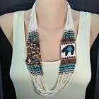 MAMAS ESTATE VINTAGE NATIVE AMERICAN NECKLACE SEED BEAD STONE SHELL 30 C8 13