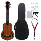 21 Inch Acoustic Soprano Ukulele Uke Wood + Tuning Pegs + Case + Care Kits H1P1