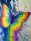 Watercolor Painting Rainbow Butterfly Insect ACEO Art