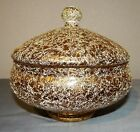 Vtg MidCentury Spaghetti String Drizzled Glass Covered Candy Jar Dish Gold White