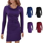 Womens Long Sleeve Button Party Evening Cocktail Bodycon Pencil Midi Short Dress