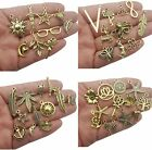 10 Assorted Charms Antique Gold Tone Mixed Pendants Jewelry Making Supplies