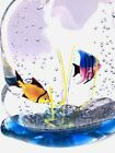SIGNED BY ARTIST MURANO AQUARIUM FISH ART GLASS PAPERWEIGHT SCULPTURE COLOR A++