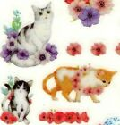 Adorable Cats Kittens  Flowers Stickers