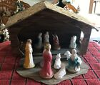 VINTAGE ANTIQUE CARDBOARD FOLD UP 13 PIECE MANGER NATIVITY VERY RARE