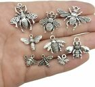 9 Bee Charms Pendants Bumblebee Charms Antiqued Silver Assorted Set Insect Wasp
