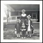 Vintage Antique Photograph Mom Standing w Little Children All Dressed Up