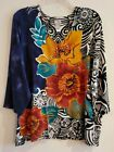 LOVELY Chicos 3 4 Sleeve Flower Power Top Size 4 XL
