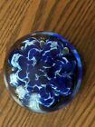 BLUE  WHITE FLORAL with BUBBLES Signed  ATLANTA GLASS 76 paperweight 4 X 2