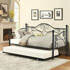 Metal Daybed with Trundle Twin Bed Set Sofa Day Extra Seating Black Finish