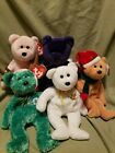 Ty Beanie babies.LOT OF 5 Princess,Holy Father,Cure, Holiday 2002 and 2003 Teddy