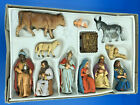 Vintage 14 pcs Hand Painted Nativity Set Western Germany Friedel Krippenfiguren