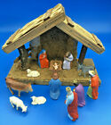 Vintage 13 Hand Painted Nativity Set with Creche Germany Friedel Krippenfiguren