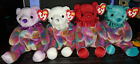 4 Ty Beanie Baby BIRTHDAY Bears - February, April, July and December