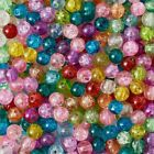 50 Crackle Glass Beads 8mm Assorted Lot Mixed Colors Bulk Jewelry Supplies Mix