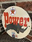 Texaco Havoline Power Motor Oil  Porcelain Gasoline Pump Sign No Reserve