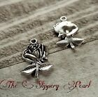 4 Flower Charms Antiqued Silver Rose Pendants Garden Charms 24mm