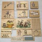 Lot of 16 House Mouse Rubber Stamps Mice  Words Flowers Cupcake Get Well Party