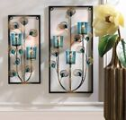Candle Sconces Wall Decor Wrought Iron Metal Holder Mount Votive Glass Peacock