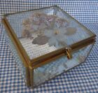 Beveled Glass Pressed Dried Flower Mirrored Trinket Box FREE SHIPPING