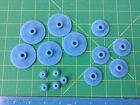 Set Of 15 Plastic Gears - Blue Red Gray And Green