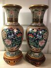 CLOISONNE ENAMEL VASES BRASS CHINESE PARROT BIRD CHINOISERIE LOTUS PEONY CAMELIA