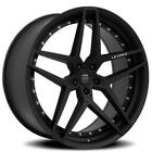 4 22 Staggered Lexani Wheels Spike Satin Black RimsB17
