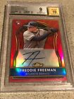 FREDDIE FREEMAN 2011 TOPPS FINEST RED REFRACTOR 25 AUTO BGS 9 MINT RC