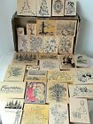 33 Wood Mount Rubber Stamps Scrapbook Crafting XMAS EASTER WHIMSICALFLOWERS NEW