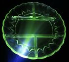 Uranium Vaseline Green Depression Glass Meat Cheese Sandwich Snack Tray Platter