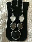 Large Chunky Heart Necklace 30 with Extender New
