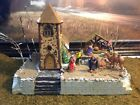 Christmas Village Display Platform Lemax Natively Scene W Dept56 Church All Incl