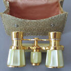Vintage FRENCH Mother of Pearl OPERA Glasses w Original SILK Case Marked FRANCE