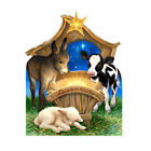BORN IN A MANGER Jesus Nativity Dona Gelsinger CARDBOARD CUTOUT Standup Standee