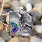 Cat and Color Butterfly Art Cabochon Glass Tile Chain Pendant Necklace Silver