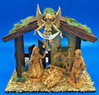 Vintage Fontanini Roman 5 Scale Figures 5 Piece Nativity Set w Lighted Creche