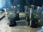4 Libbey Glass COUNTRY GARDEN blue juice glass Tumbler Embossed Leaves/Flower