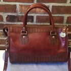 Brahmin Vintage Brown Woven Leather Satchel Shoulder Bag Fabulous